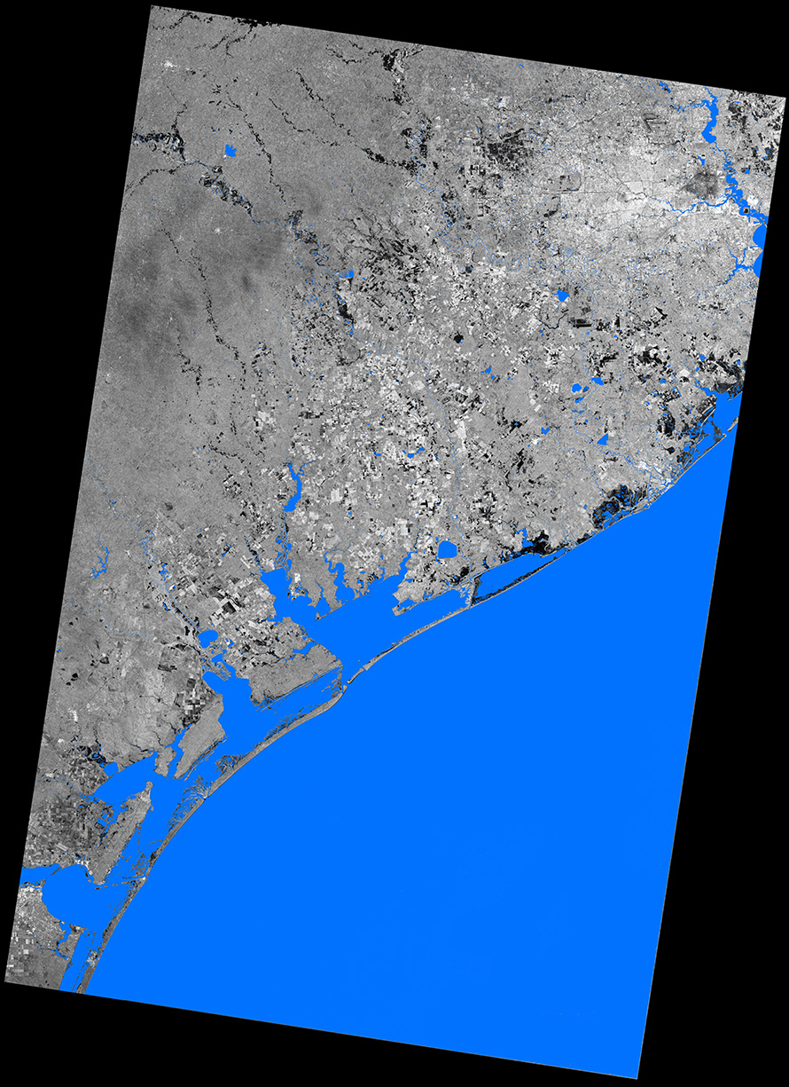 Floods Caused By Hurricane Harvey In Texas USA Seen By TerraSAR - Satellite map of texas
