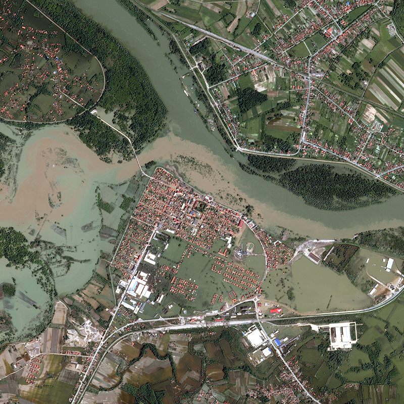Pléiades Satellite Image - Floods of the Sava, Croatia/ Bosnia and Herzegovina