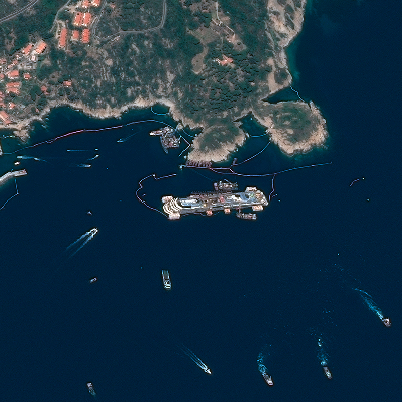 Pléiades Satellite Image - Refloating of the Costa Concordia, Italy