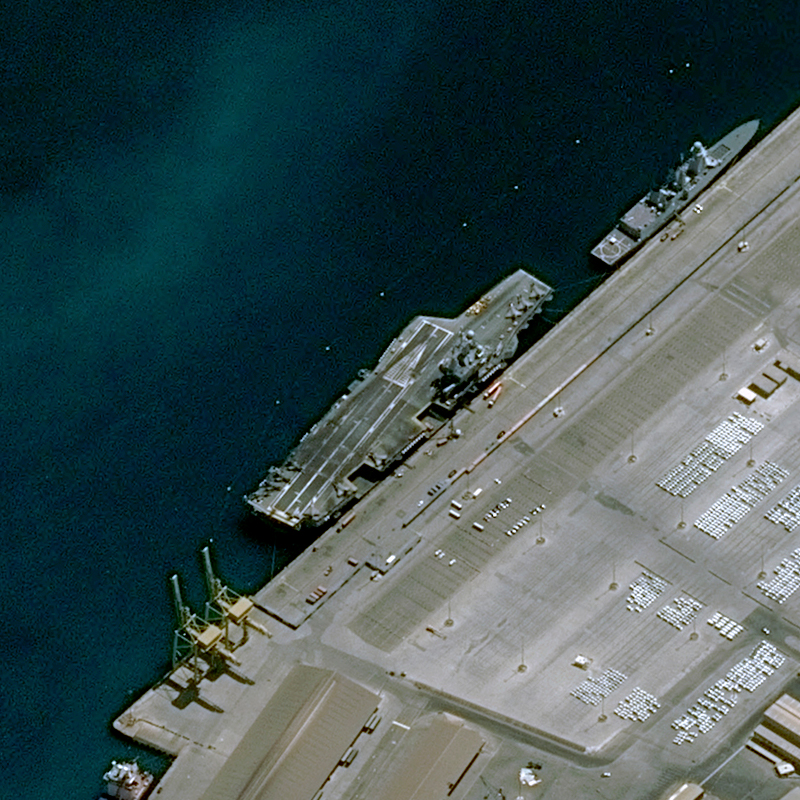 Pléiades Satellite Image - French Aircraft Carrier Charles de Gaule in Abu Dhabi