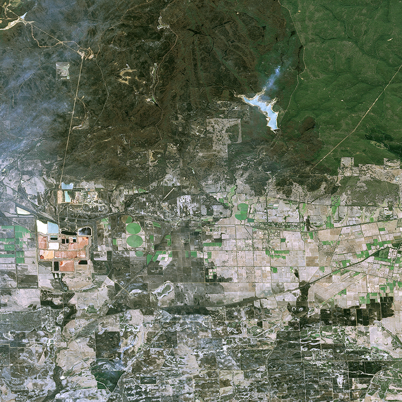 Image satellite SPOT6/7 - Incendie de Yarloop, Australie
