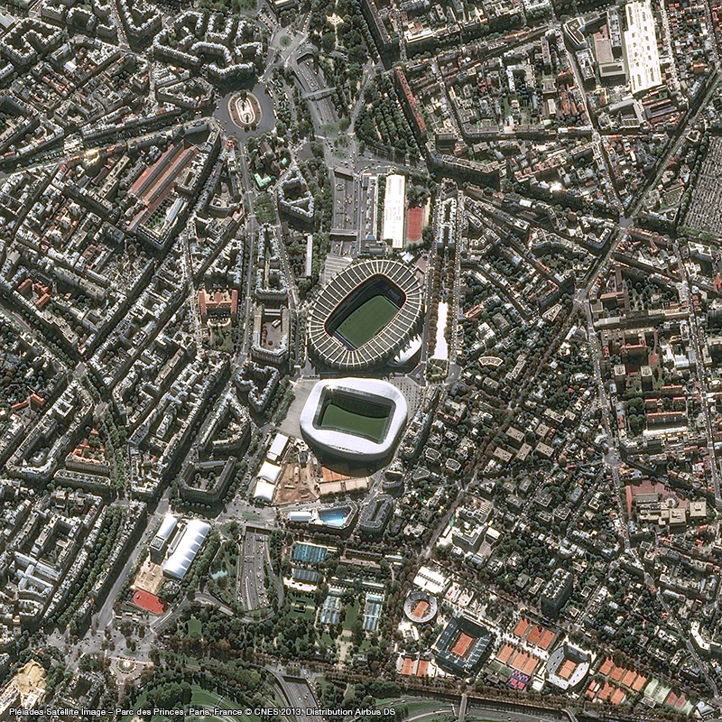 Image satellite Pléiades - Parc des Princes, Paris
