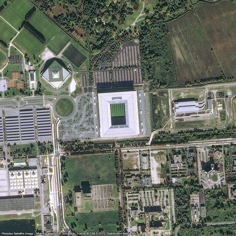 Satellitenaufnahme Pléiades – Matmut Atlantique, Bordeaux