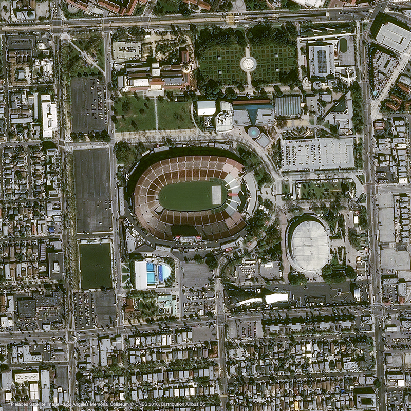 Pléiades Satellite Image – Los Angeles Memorial Coliseum