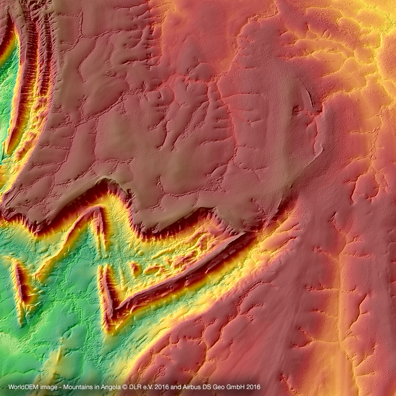 WorldDEM Digital Surface Model - Bergketten in Angola
