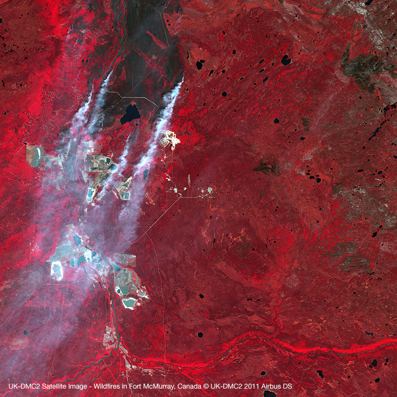 UK-DMC2 Satellite Image - Wildfires in Fort McMurray, Canada