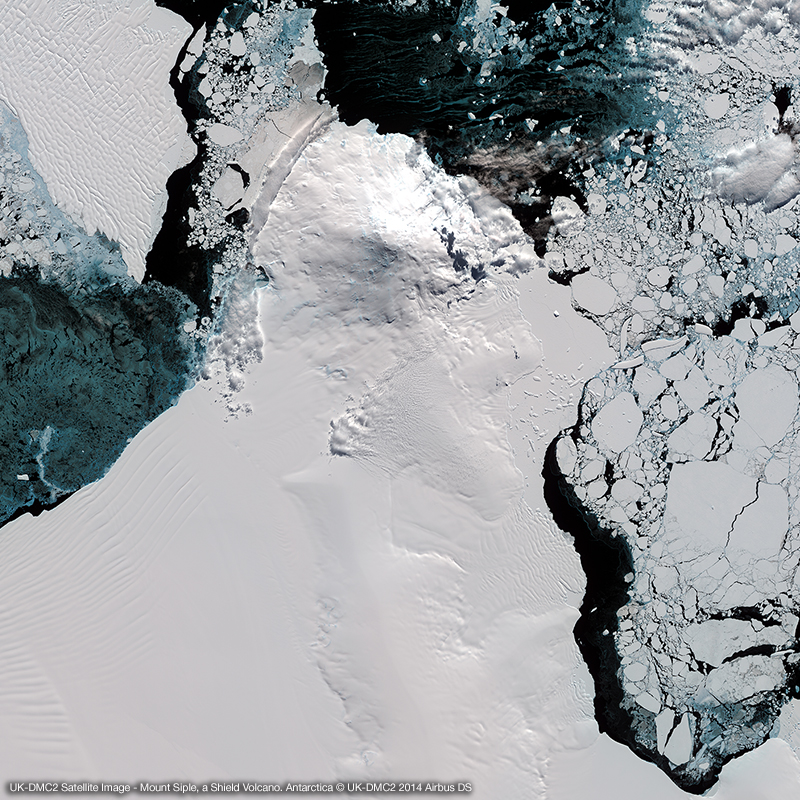 UK-DMC2 Satellite Image - Mount Siple, a Shield Volcano. Antarctica