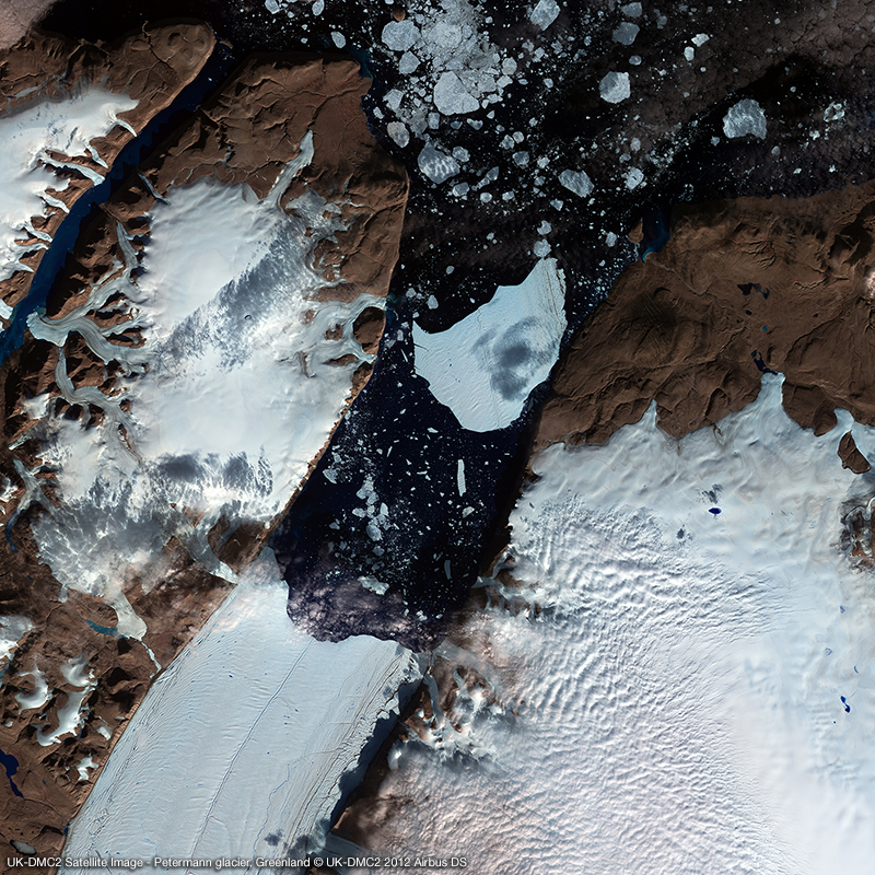 UK-DMC2 Satellite Image - Glacier calving the size of Manhattan