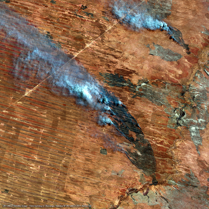Image satellite UK-DMC2 - Incendies en Namibie, Afrique