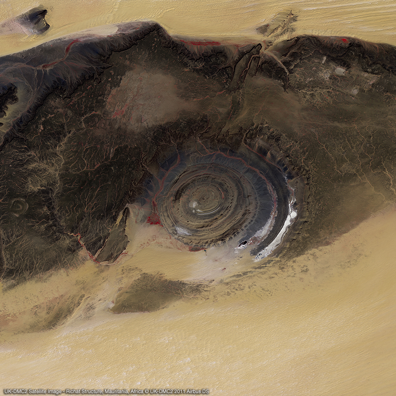 Image satellite UK-DMC2 - Structure de Richat, Mauritanie, Afrique