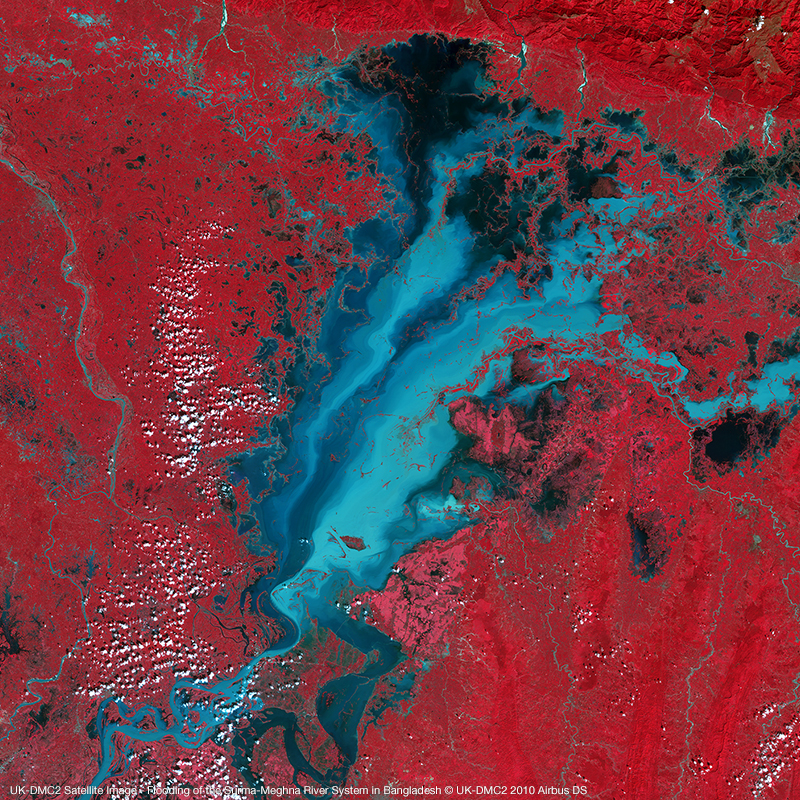 UK-DMC2 Satellite Image - Flooding of the Surma-Meghna River System in Bangladesh