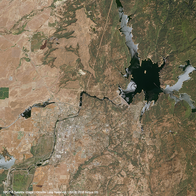 SPOT 6 Satellite Image - Oroville Lake Reservoir, USA
