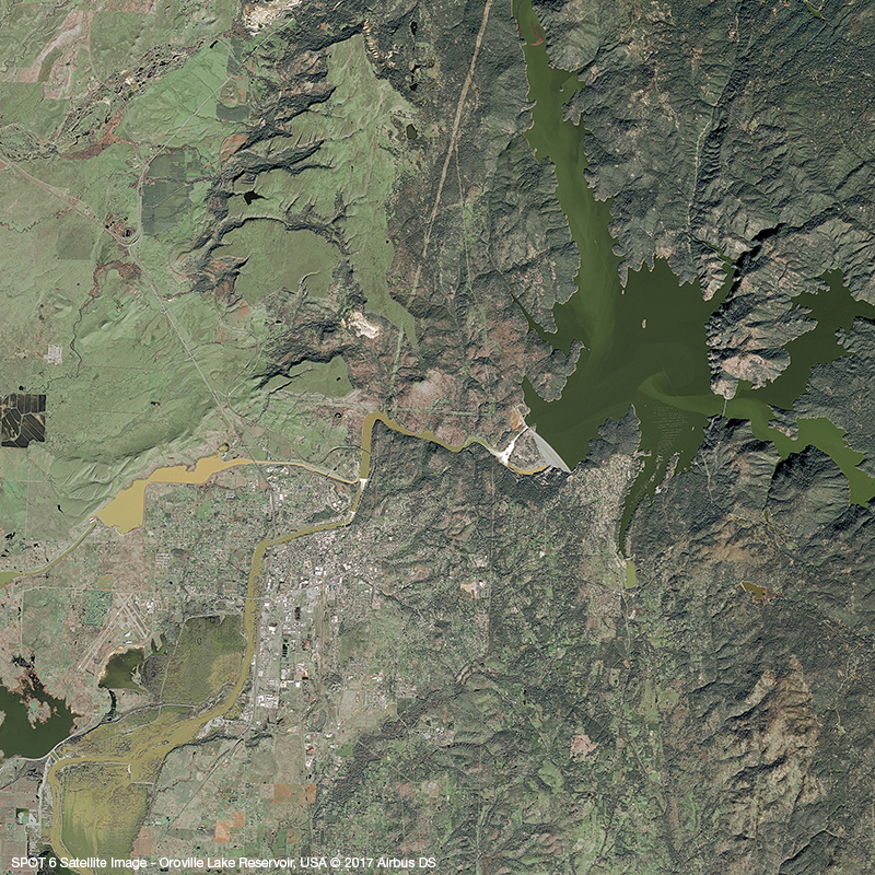 SPOT6 Satellite Image - Oroville Lake Reservoir, USA - February 14th 2017
