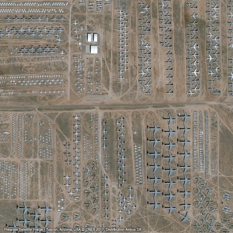 Pléiades Satellite Image - Tucson: The Largest Aircraft Graveyard in the World