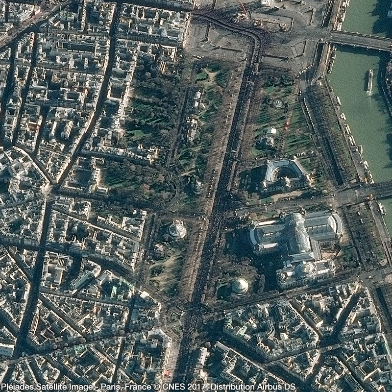 Pléiades Satellite Image - Tribute to Johnny Hallyday in Paris, France