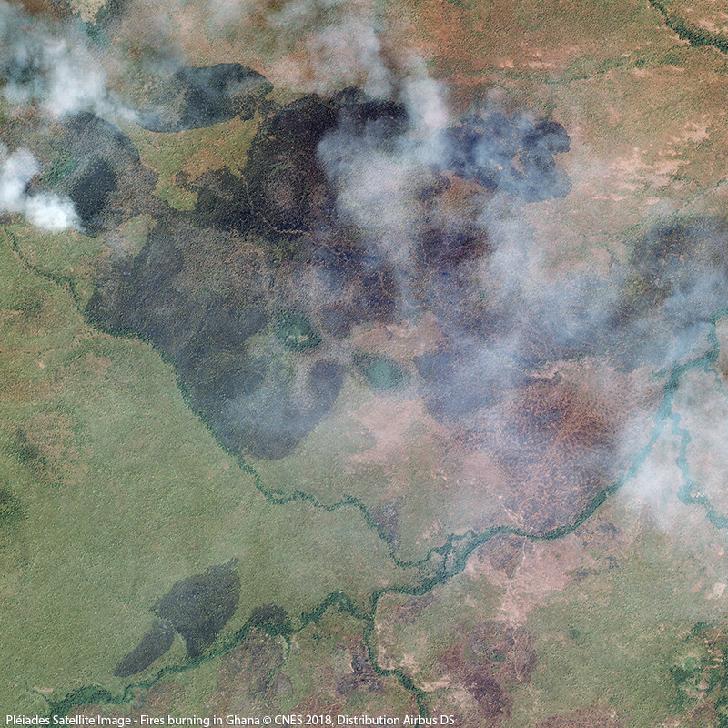 Image satellite Pléiades - Incendies au Ghana