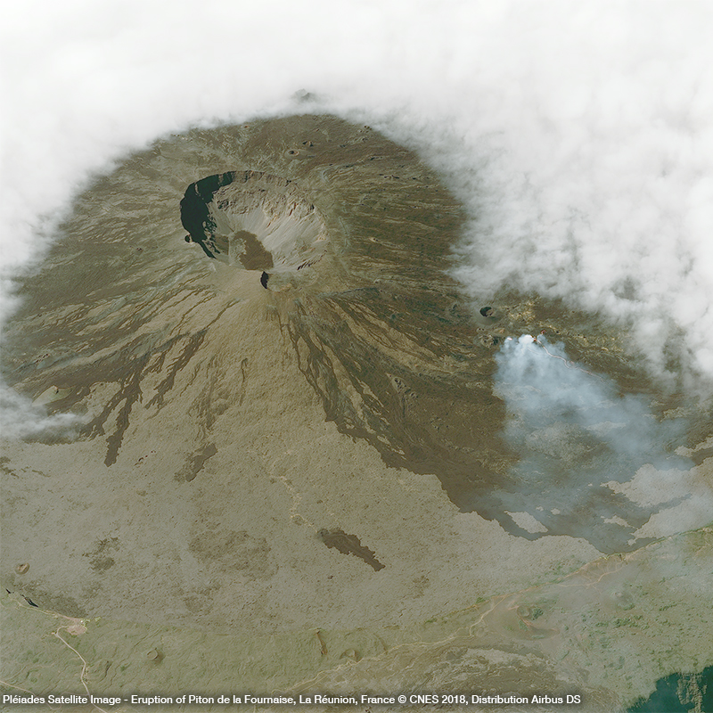 Pléiades Satellite Image - Eruption of Piton de la Fournaise