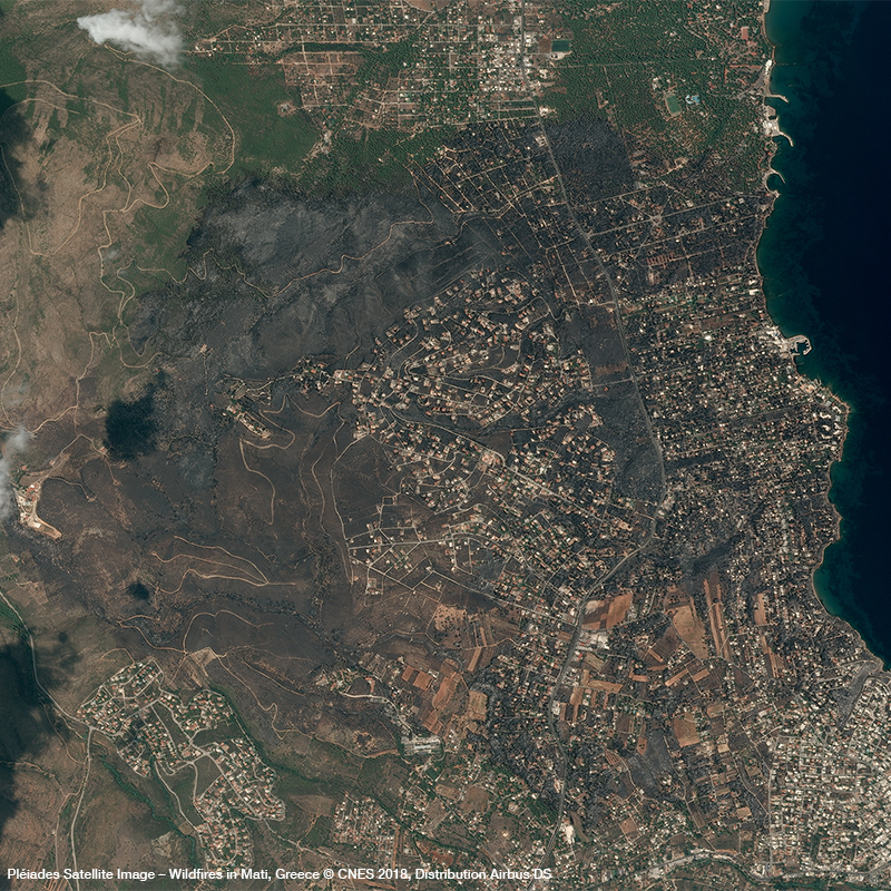 Pléiades Satellite Image – Wildfires in Mati, Greece