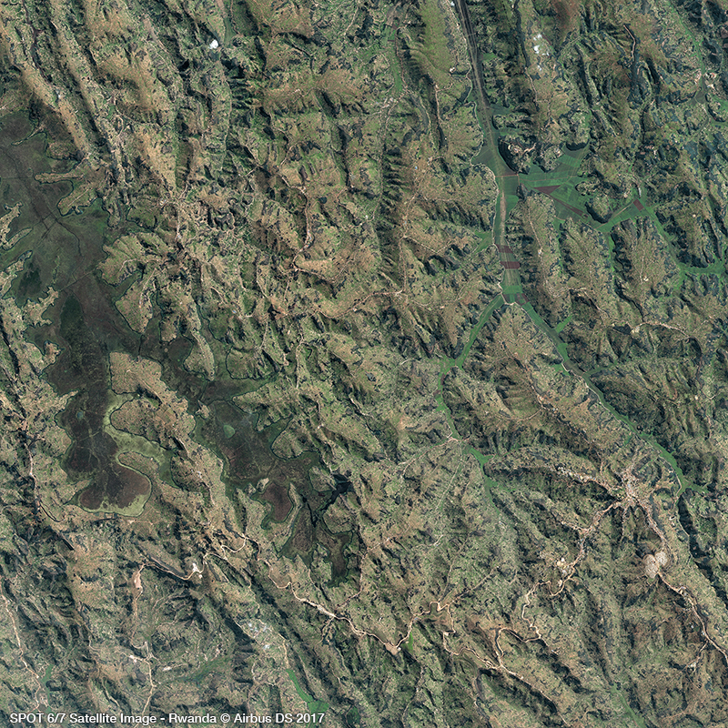 SPOT 6/7 - Swamp and terraced agriculture in Rwanda