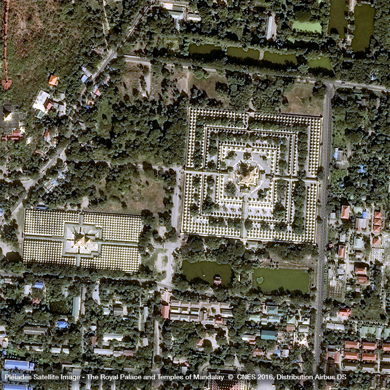 Pléiades Satellite Image - The Royal Palace and Temples of Mandalay
