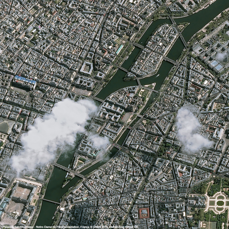 Pléiades Satellite Image - Notre-Dame de Paris devastation, France