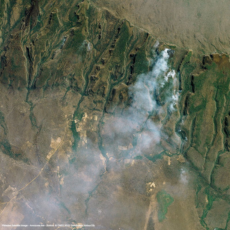 Pléiades Satellite Image -  Amazon Rainforest Fire in Bolivia