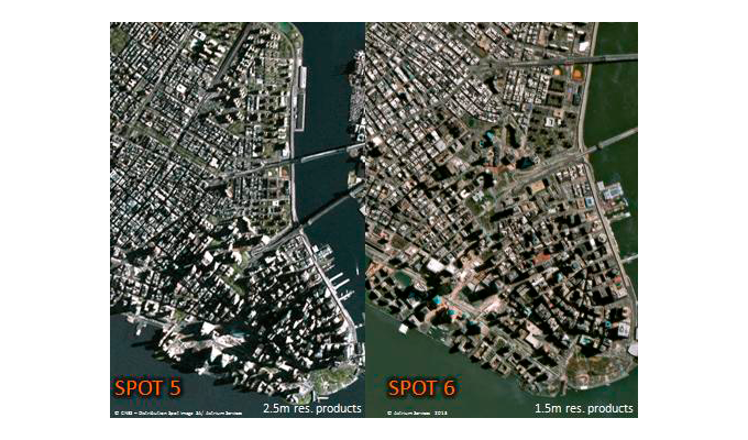 Comparison of SPOT 5 (2.5 m) and SPOT 6 (1.5 m) images of New York