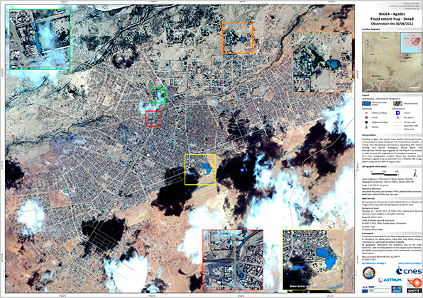Agadez, Niger – 1:10 000 scale map of the flooded areas. Pléiades satellite image, 08/30/2012