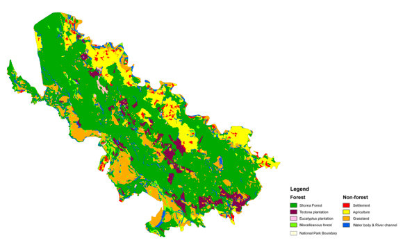 Basic forest map of Dudhwa National Park in India showing the distribution of main forest types based on TerraSAR-X StripMap acquisitions