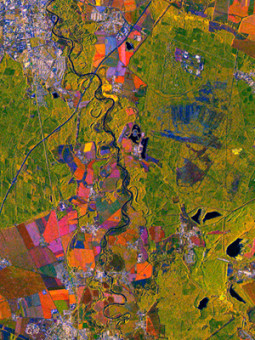TerraSAR-X Satellite Image - Colour Composite based on three StripMap images - Dessau, Germany