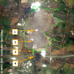 Lusi Mud Volcano - FORMOSAT-2 Satellite Image on 03/05/2007 (map)
