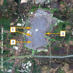 Lusi Mud Volcano - FORMOSAT-2 Satellite Image on 23/05/2007 (map2)