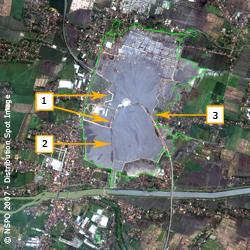 Lusi Mud Volcano - FORMOSAT-2 Satellite Image on 23/05/2007 (map2)