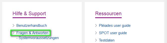 Screenshot - How to access the FAQ - DE