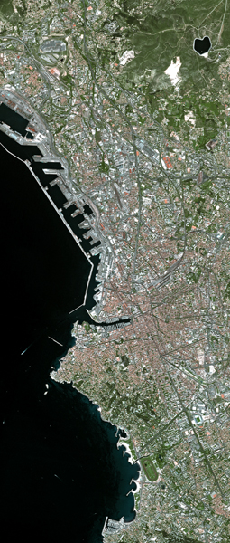 Marseille, France - SPOT 5 satellite image 2.5m colour