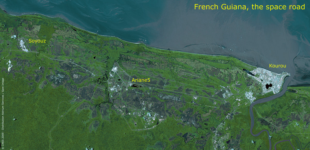 Kourou Soyuz launch complex seen by SPOT 5 Airbus Defence and Space