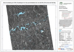Floods in Andalusia - Map of floods on February 27th 2010 in Lora del Rio