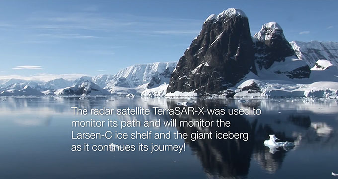 Showing the movement of the Larsen-C iceshelf monitored by TerraSAR-X