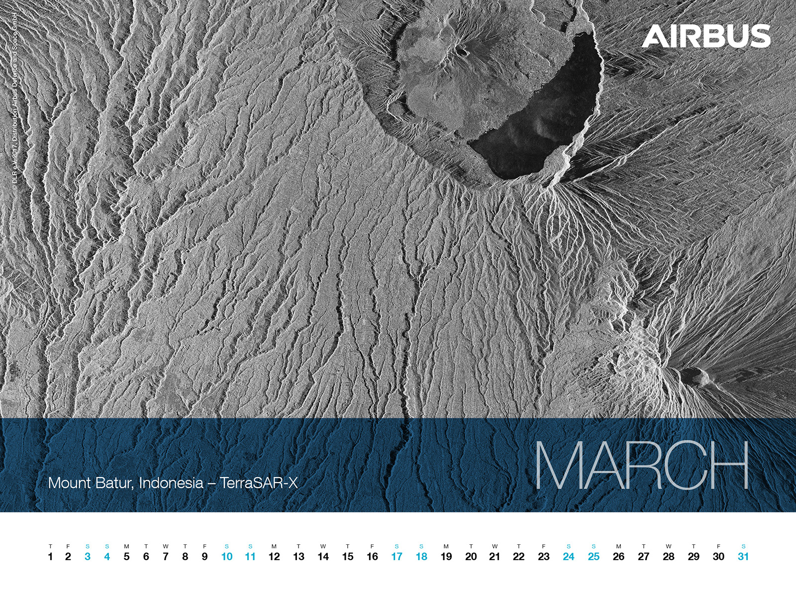 Calendar 2018 -March - TerraSAR-X image - Mount Batur, Indonesia - 1600x1200