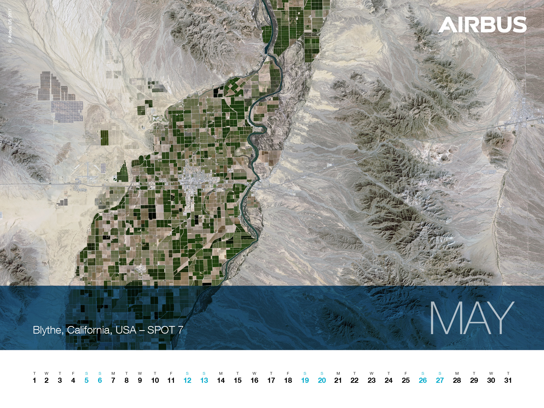 Calendar 2018 - May - SPOT 7 Satellite Image, Blythe, California, USA - 1600x1200