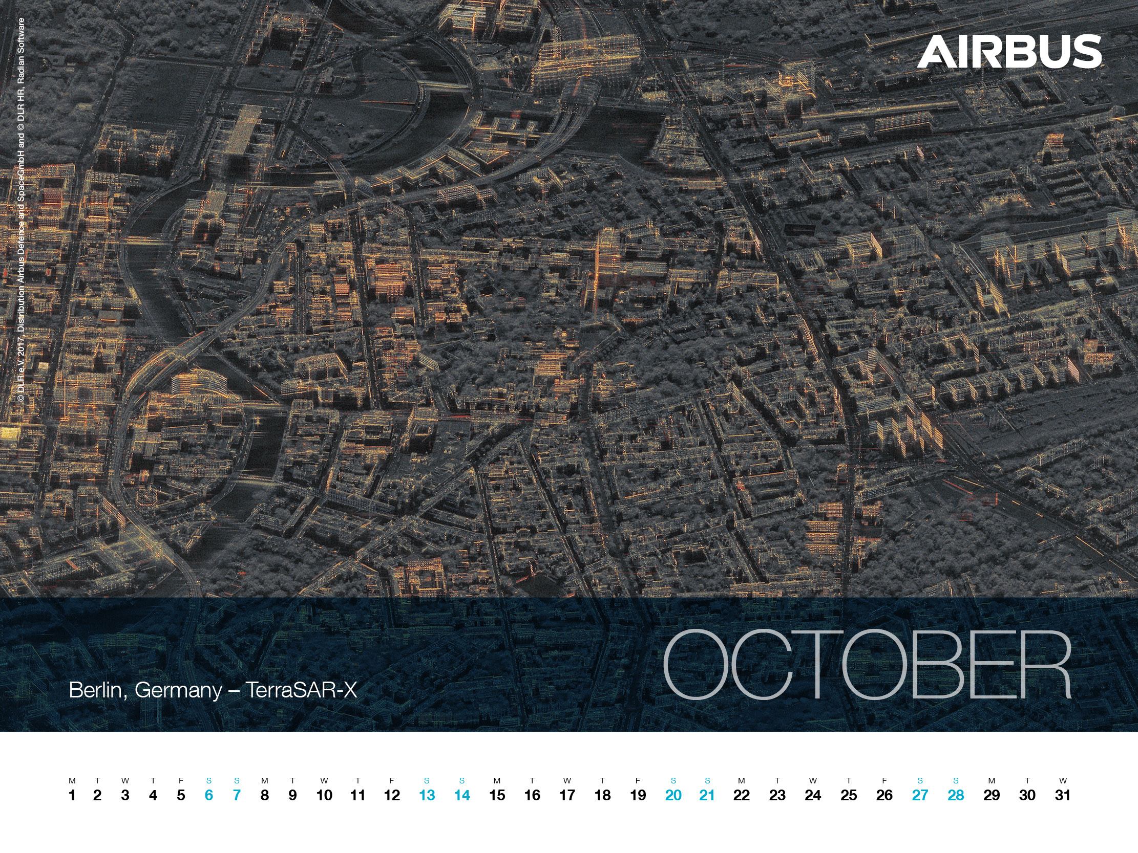 Calendar 2018 - October - Berlin, Germany - TerraSAR-X - 1600x1200