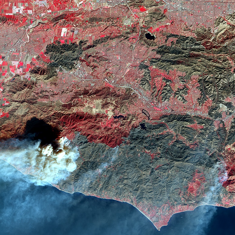 SPOT 6 False Color - Woolsey Fire California (square format)