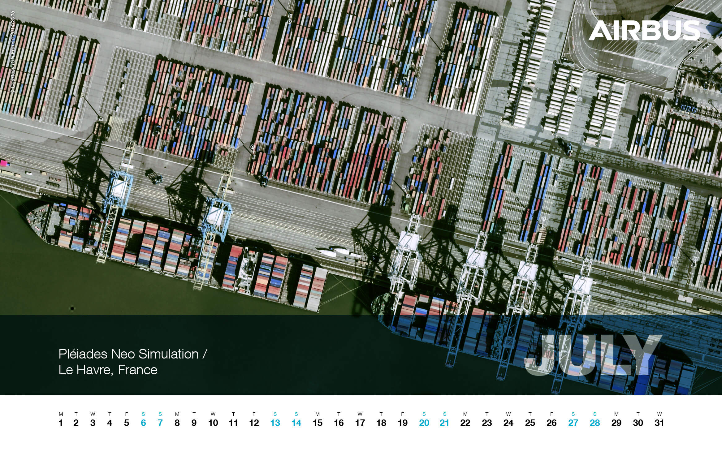 Calendar 2019 - July - Le Havre, France - Pléiades Neo Simulation - 1680x1050