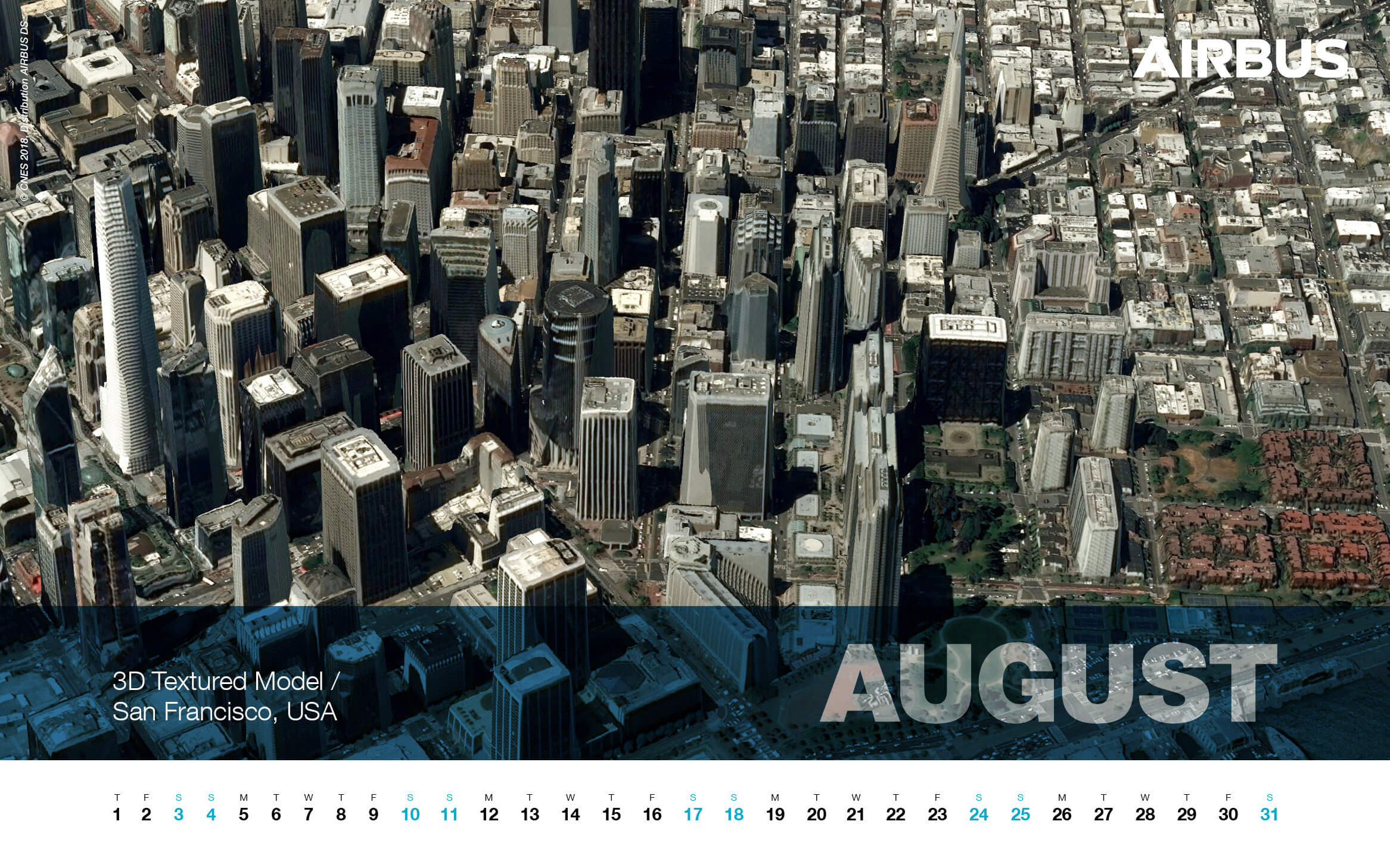 Calendar 2019 - August - San Francisco, USA - 3D Textured Mod - 1680x1050