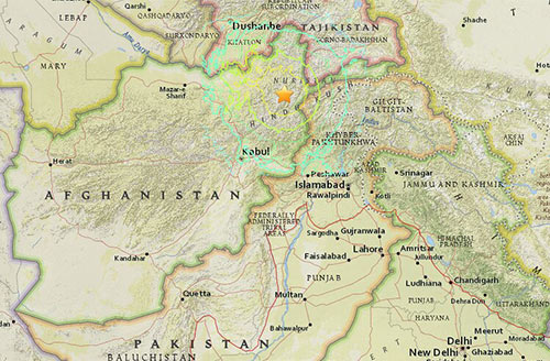 Earthquake Pakistan map