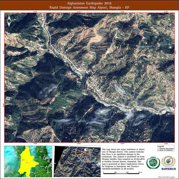 Earthquake map Pakistan