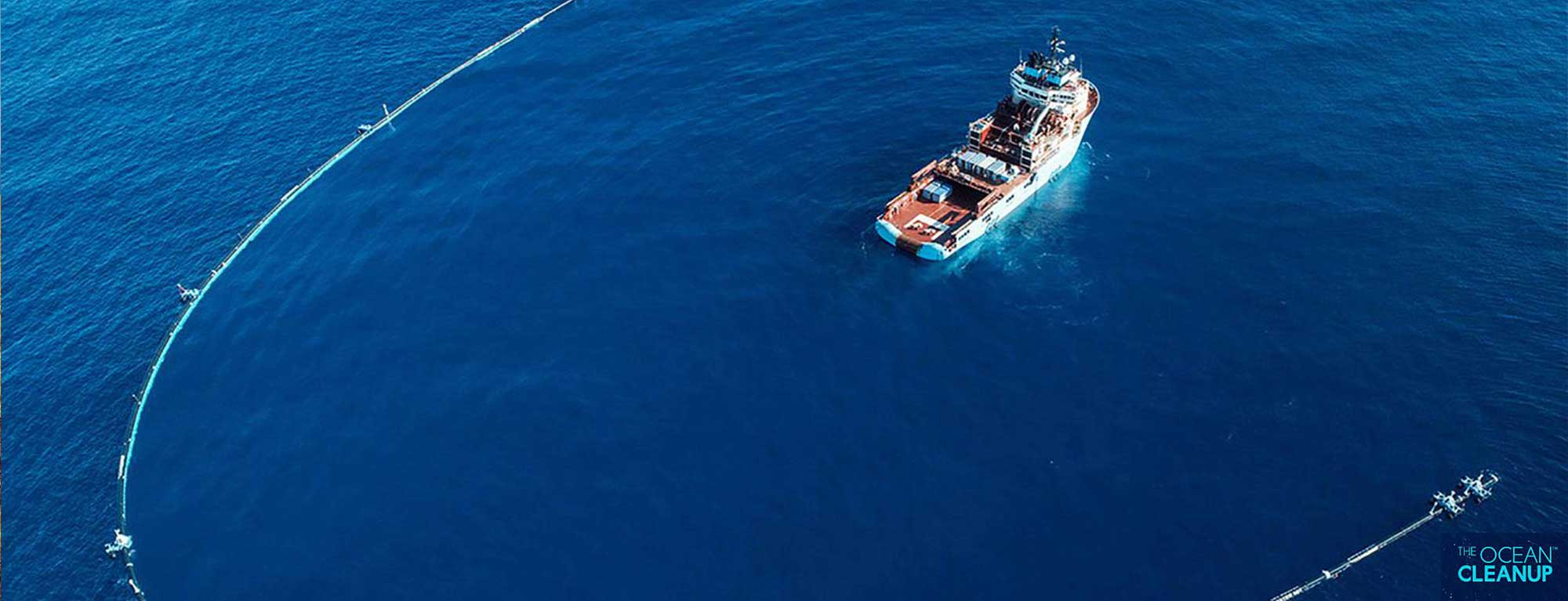 Vessel working at cleaning up floating plastic from the pacific Ocean