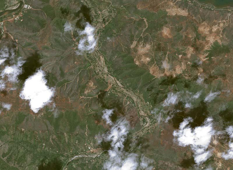 Pléiades image of Houaïlou district in New Caledonia