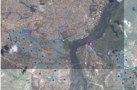 Map of the area helping access to drinkable water in Goma - Elevation1 case study