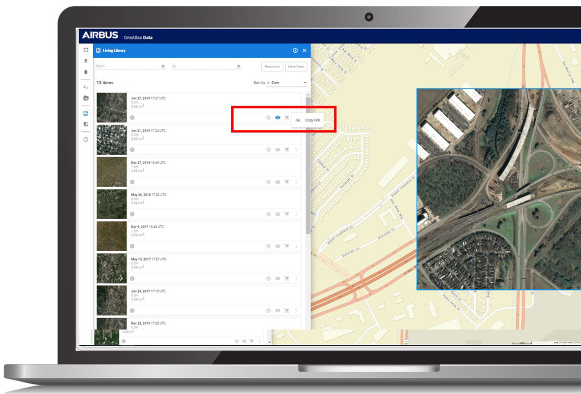 Easy access to satellite imagery through streaming or purchase in OneAtlas
